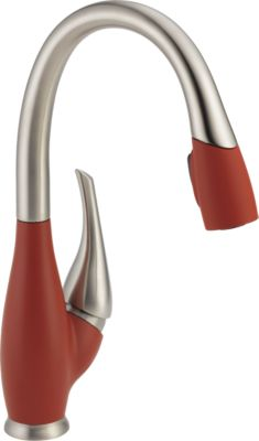 Delta 9158-DST-SD Stainless and Chili Pepper Faucet Delta 9158-DST-SD Fuse Pull-Down Spray Kitchen