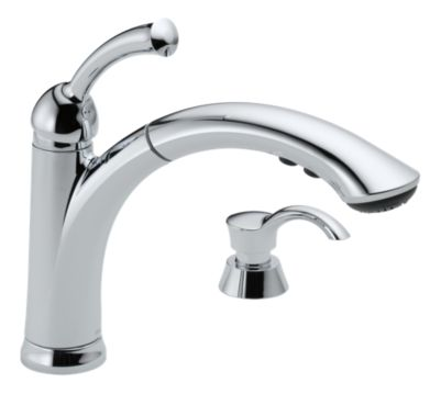 Lewiston Single Handle Pull-Out Kitchen Faucet with Soap Dispenser