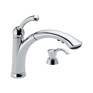 Lewiston® Single Handle Pull-Out Kitchen Faucet with Soap Dispenser