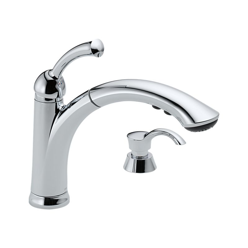 Delta lewiston pull out kitchen faucet one handle chrome for Faucet and soap dispenser placement