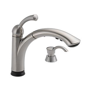 Lewiston Single Handle Pull-Out Kitchen Faucet with Touch2O Technology