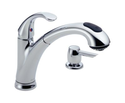 Classic Single Handle Pull-Out Kitchen Faucet with Soap Dispenser
