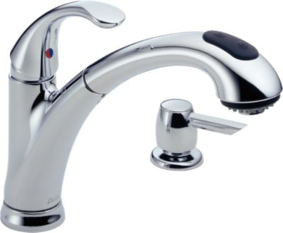 Classic Single Handle Pull Out Kitchen Faucet With Soap Dispenser