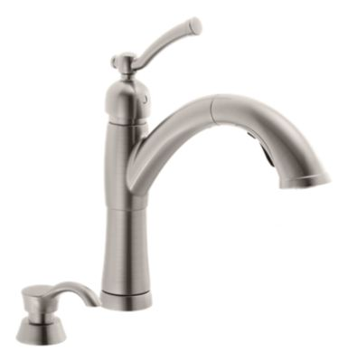 Valdosta Single Handle Pull-Out Kitchen Faucet with Soap Dispenser