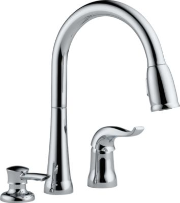 Beau Kate Single Handle Pull Down Kitchen Faucet With Soap Dispenser