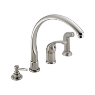 Classic Single Handle Kitchen Faucet with Spray & Soap Dispenser