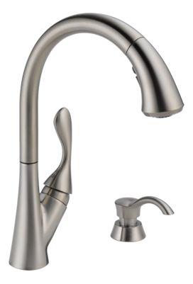 Ashton Single Handle Pull-Down Kitchen Faucet with Soap Dispenser