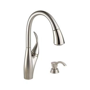 Berkley Single Handle Pull-down Kitchen Faucet with Magnatite and Soap Dispenser