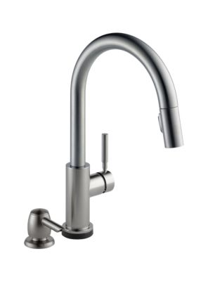 Trask Single Handle Pull-Down Kitchen Faucet with Touch2O Technology and Soap Dispenser