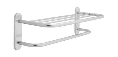 Delta 24″ Brass Towel Shelf with One Bar, Concealed Mounting Polished Chrome