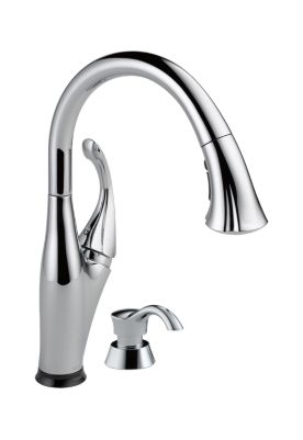 Single Handle Pull-Down Kitchen Faucet with Touch2O Technology and Soap Dispenser