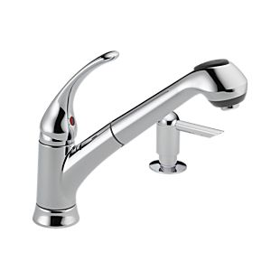 Foundations® Single Handle Pull-Out Kitchen Faucet with Soap Dispenser