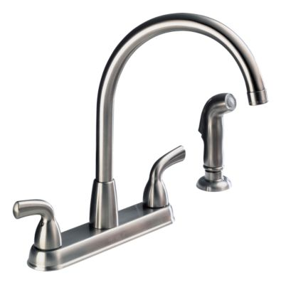 P99578lf Ss D Two Handle High Arc Kitchen Faucet With