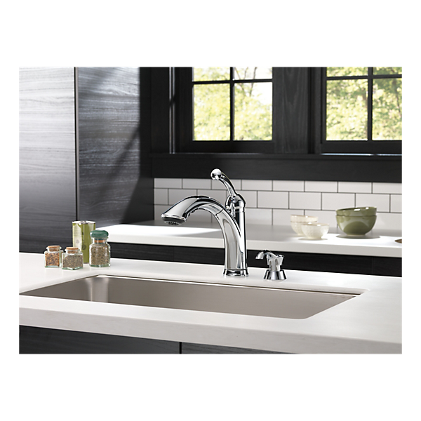 16926 Sd Dst Single Handle Pull Out Kitchen Faucet With Soap Dispenser