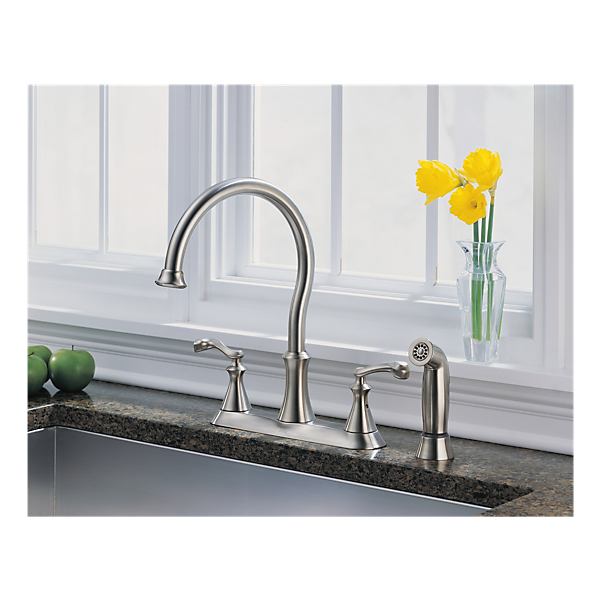 21925lf ss two handle kitchen faucet with spray