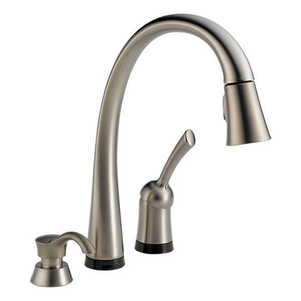 pull down kitchen faucet with touch2o technology and soap dispenser