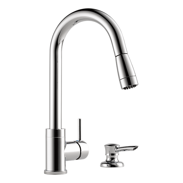 P188104lf sd integrated pull down kitchen faucet with for Faucet soap dispenser placement