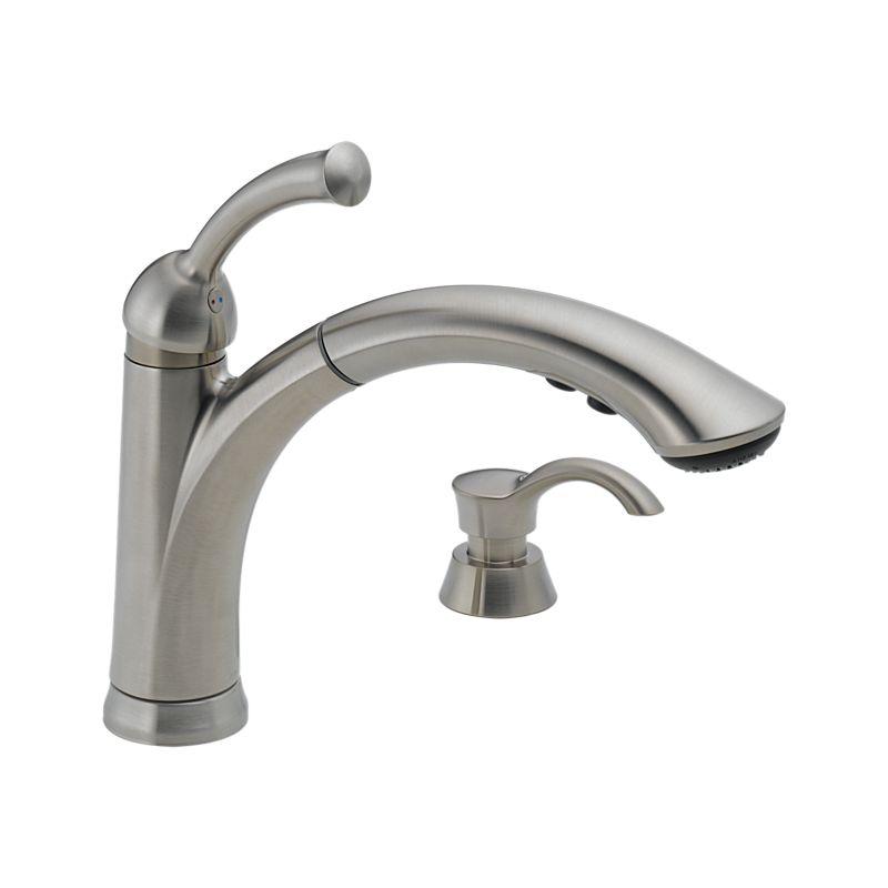 Delta Lewiston Kitchen Faucet: 16926-SSSD-DST Lewiston® Single Handle Pull-Out Kitchen