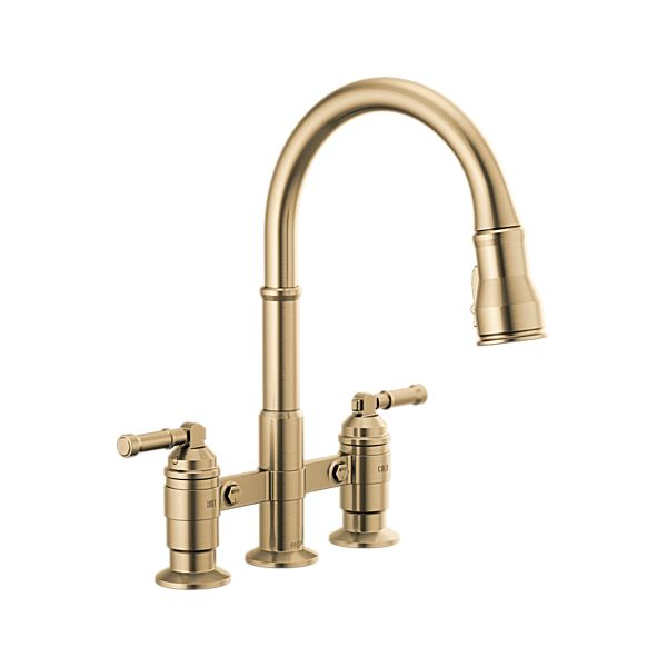 Two Handle Pull-Down Bridge Kitchen Faucet